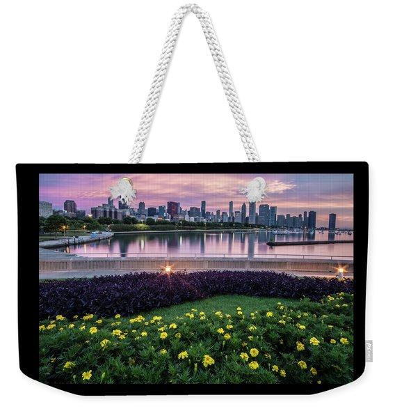 summer flowers and Chicago skyline Weekender Tote Bag