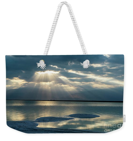 Weekender Tote Bag featuring the photograph Sunrise At The Dead Sea by Arik Baltinester