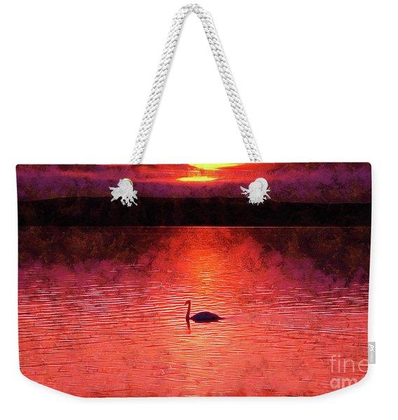 Swan In The Sunset Painting Weekender Tote Bag