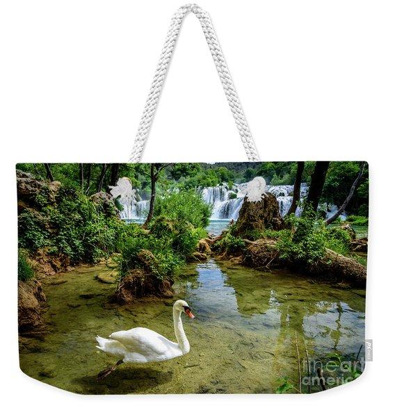 Swan In The Waterfalls Of Skradinski Buk At Krka National Park In Croatia Weekender Tote Bag