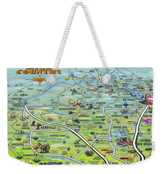 Texas Hill Country Cartoon Map Weekender Tote Bag