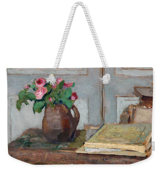 The Artist's Paint Box And Moss Roses Weekender Tote Bag
