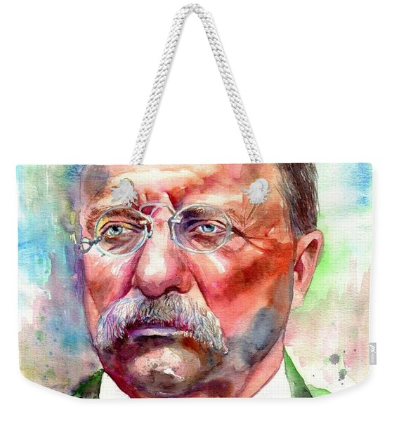 Theodore Roosevelt Watercolor Portrait Weekender Tote Bag