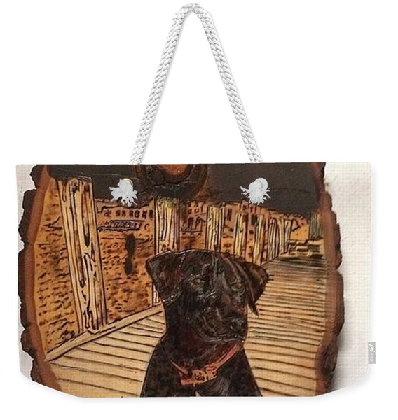 Weekender Tote Bag featuring the pyrography Timber by Denise Tomasura