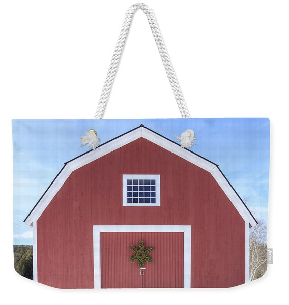Traditional New England Red Barn In Winter Weekender Tote Bag