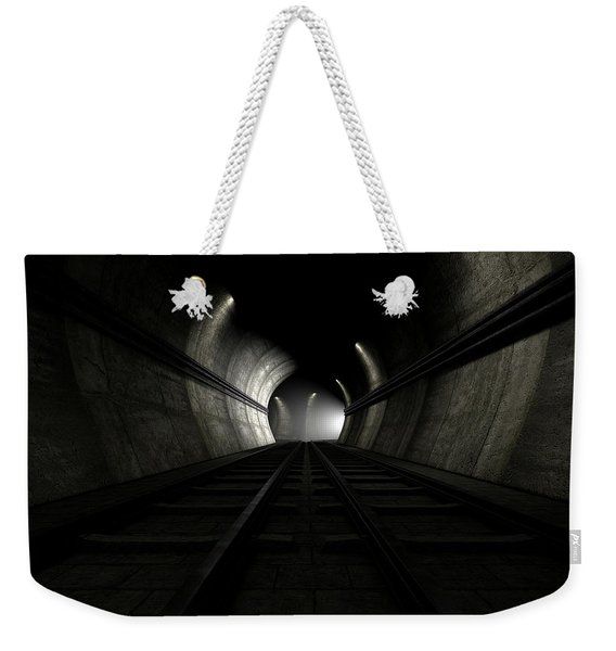 Train Tracks And Approaching Train Weekender Tote Bag