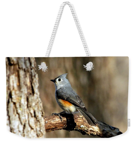Tufted Titmouse On Branch Weekender Tote Bag
