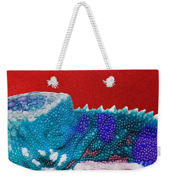 Turquoise Chameleon On Red Weekender Tote Bag