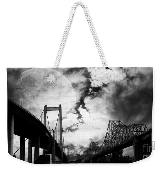 Two Bridges One Moon Weekender Tote Bag