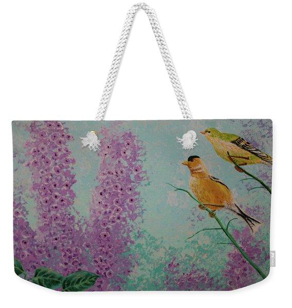 Two Chickadees Weekender Tote Bag