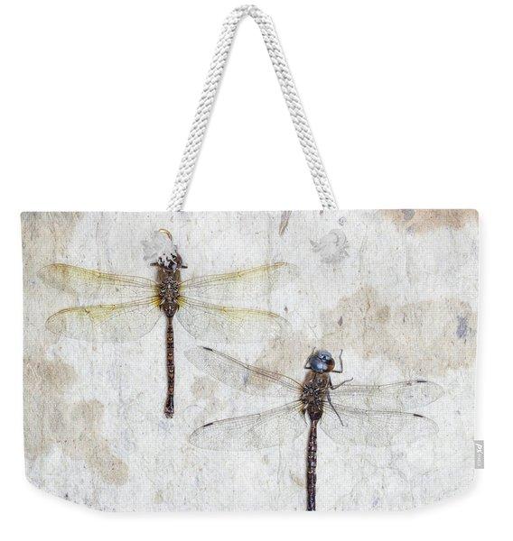 Two Dragonflies Square Weekender Tote Bag