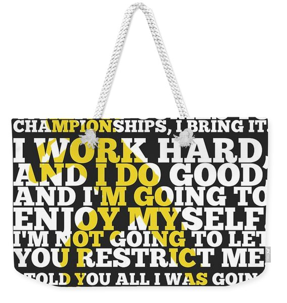 Usain Bolt Sport Inspirational Quotes Poster Weekender Tote Bag