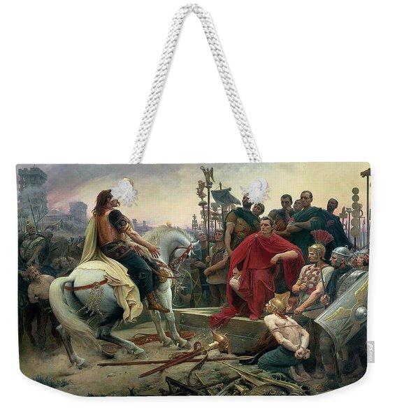 Vercingetorix Throws Down His Arms At The Feet Of Julius Caesar Weekender Tote Bag
