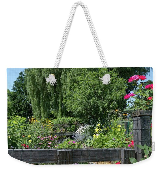 Weekender Tote Bag featuring the photograph Victory Garden Lot And Willow Tree, Boston, Massachusetts #30958 by John Bald