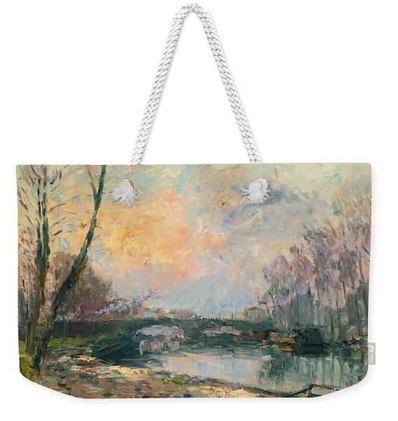 View Of The Seine, Paris Weekender Tote Bag