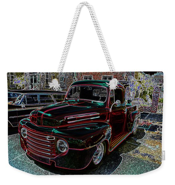 Vintage Chevy Truck Neon Art Weekender Tote Bag