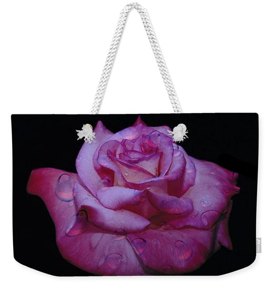 Watered Red Rose Weekender Tote Bag