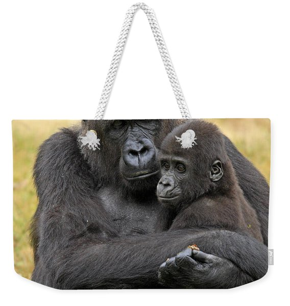 Western Gorilla And Young Weekender Tote Bag