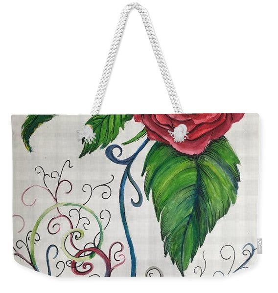 Whimsical Red Rose Weekender Tote Bag