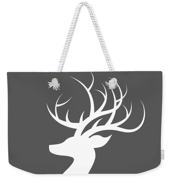 White Deer Silhouette Weekender Tote Bag