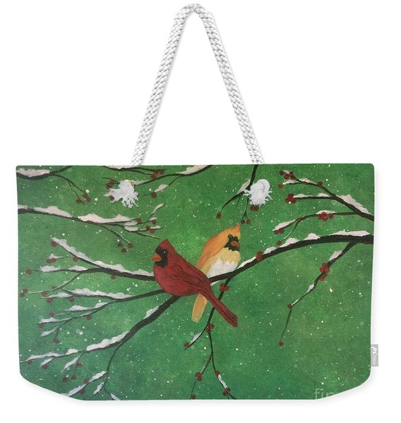 Weekender Tote Bag featuring the painting Winter Cardinals by Denise Tomasura