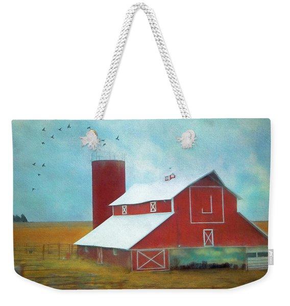 Winter Red Barn Weekender Tote Bag
