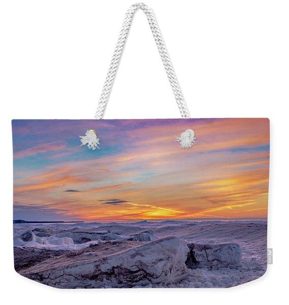Winter Sunset Weekender Tote Bag