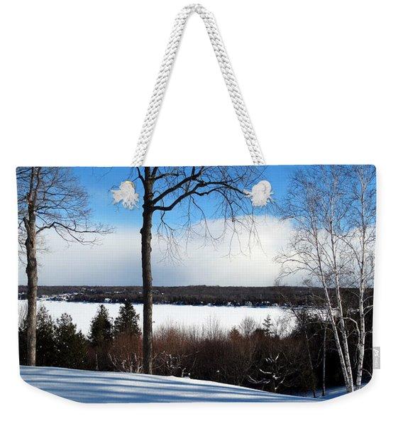 Winter View Of Sister Bay Weekender Tote Bag