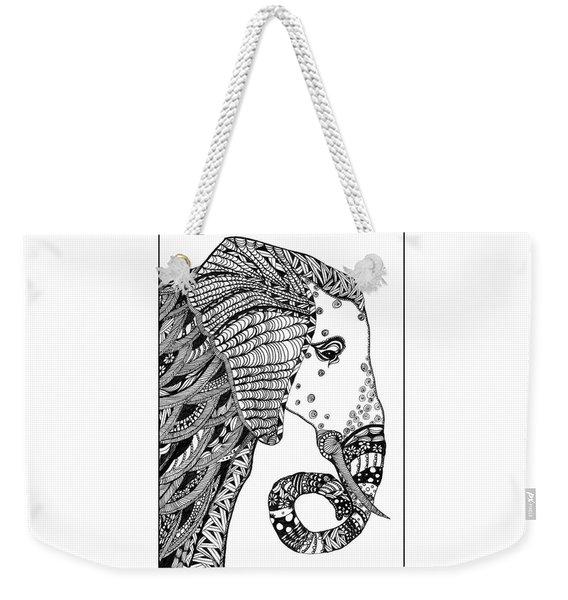 Weekender Tote Bag featuring the drawing Wise Elephant by Barbara McConoughey