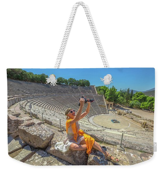 Weekender Tote Bag featuring the pyrography Woman Photographer Selfie by Benny Marty