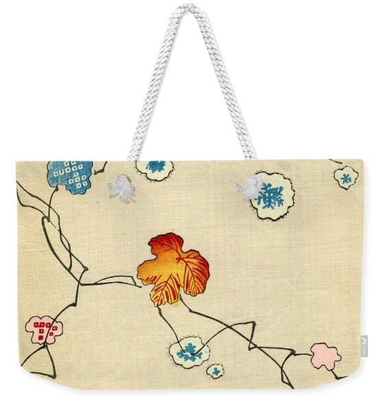 Woodblock Print Of Fall Leaves Weekender Tote Bag