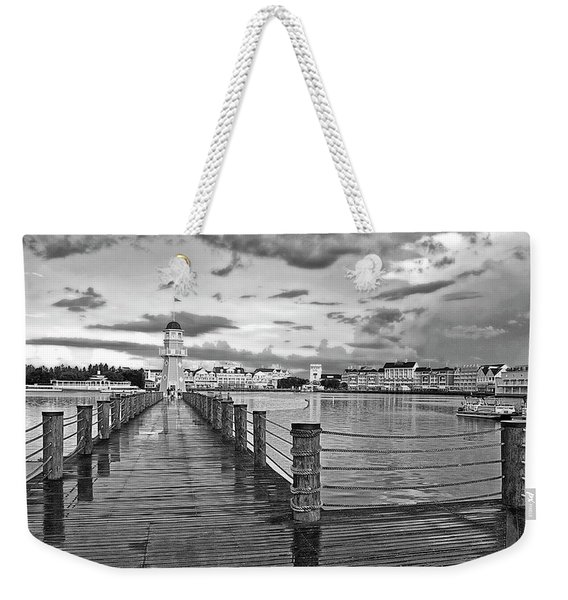 Yacht And Beach Lighthouse In Black And White Walt Disney World Mp Weekender Tote Bag