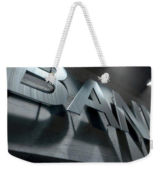 Modern Bank Building Signage Weekender Tote Bag