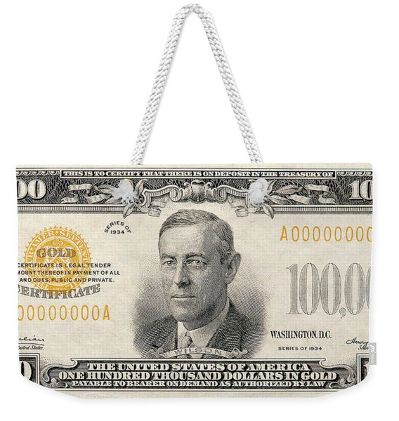$100,000 Bill Circa 1934 Weekender Tote Bag