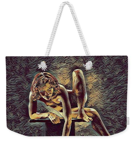 1003s-zac Necklace Of Bones Held By Beautiful Nude Dancer Weekender Tote Bag