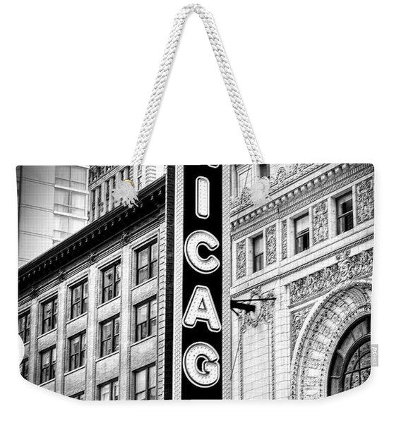 1077 Chicago Theater Black And White Weekender Tote Bag