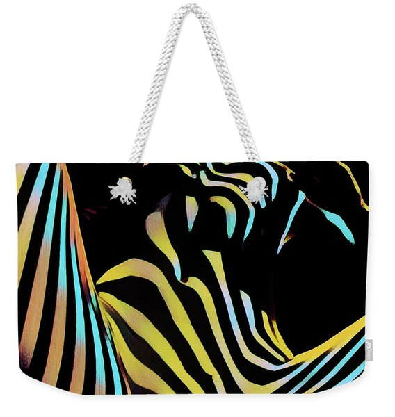 1149s-ak Dramatic Zebra Striped Woman Rendered In Composition Style Weekender Tote Bag