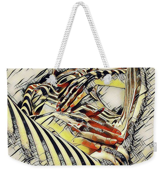 1177s-ak Abstract Nude Her Fingers On Pubis Erotica In The Style Of Kandinsky Weekender Tote Bag