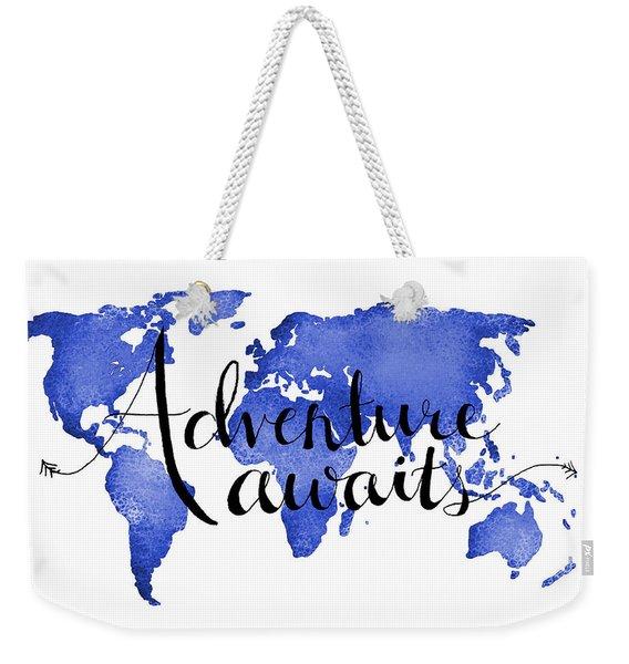 11x14 Adventure Awaits Blue Weekender Tote Bag