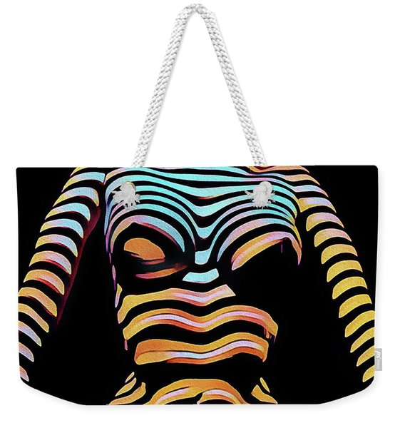 1205s-mak Seated Figure Zebra Striped Nude Rendered In Composition Style Weekender Tote Bag