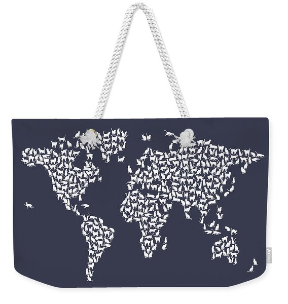 Cats Map Of The World Map Weekender Tote Bag