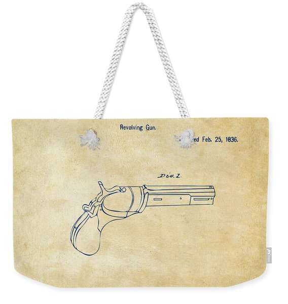 1836 First Colt Revolver Patent Artwork - Vintage Weekender Tote Bag