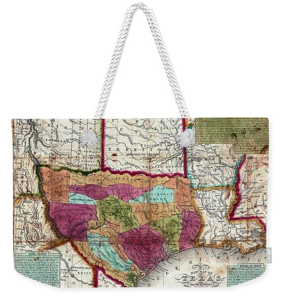 1836 Texas Territory Map Weekender Tote Bag