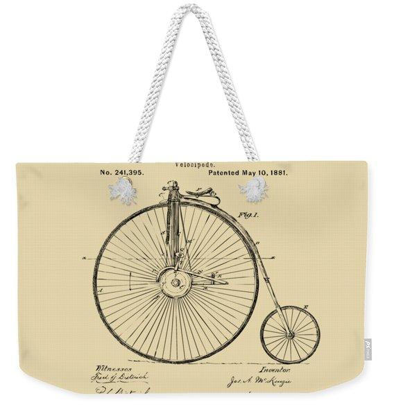 1881 Velocipede Bicycle Patent Artwork - Vintage Weekender Tote Bag