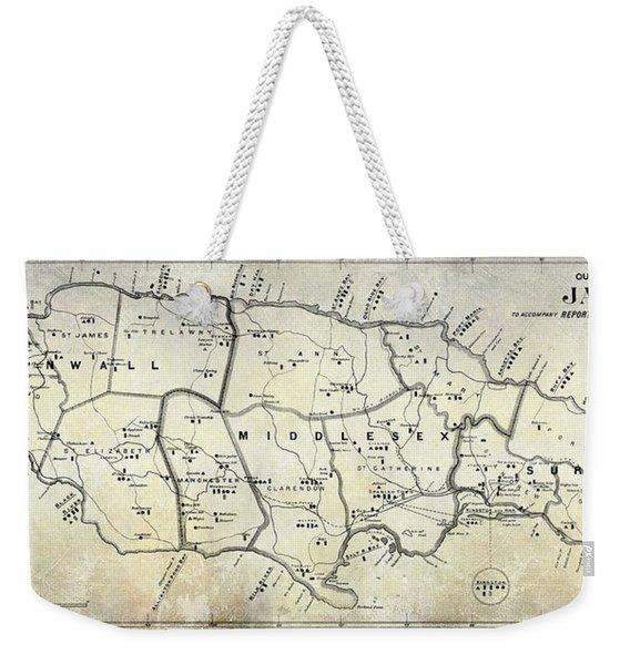 1882 Jamaica Map Weekender Tote Bag