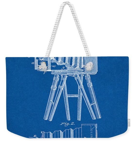 1885 Camera Us Patent Invention Drawing - Blueprint Weekender Tote Bag