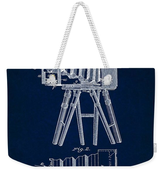 1885 Camera Us Patent Invention Drawing - Dark Blue Weekender Tote Bag