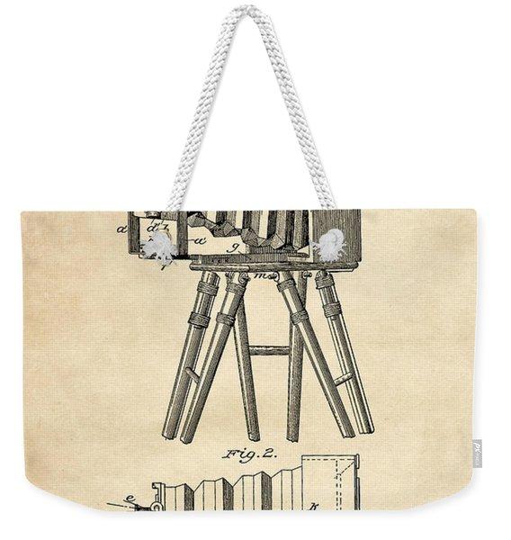 1885 Camera Us Patent Invention Drawing - Vintage Tan Weekender Tote Bag