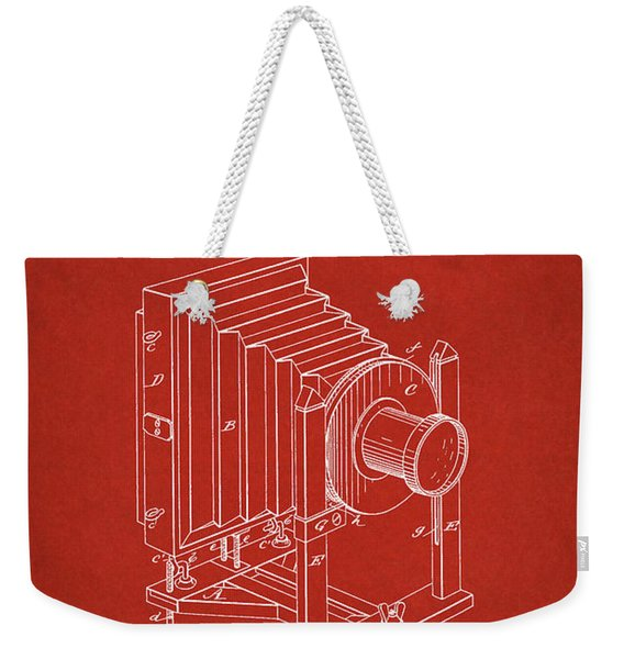 1888 Camera Us Patent Invention Drawing - Red Weekender Tote Bag