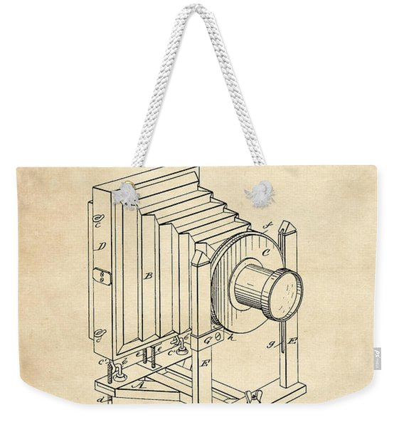 1888 Camera Us Patent Invention Drawing - Vintage Tan Weekender Tote Bag